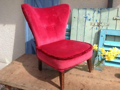 Vintage Howard Keith 1950's Cocktail Chair Art Deco Lipstick Red Material Chic