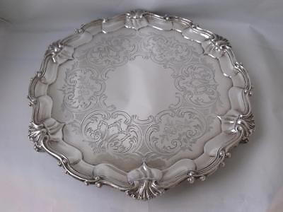 Quality Victorian Solid Sterling Silver Salver/ Tray 1857/ Dia 24.5 cm/ 553 g