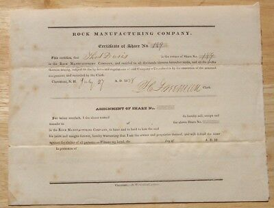 Rock Manufacturing Company Claremont New Hampshire 1838 stock shares certificate
