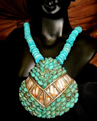 SANTO DOMINGO TRADITIONAL NECKLACE - CLARITA CALABAZA -Turquoise,Sterling Silver