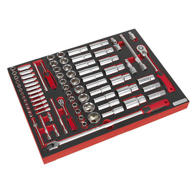 "TBTP01 Sealey Tool Tray with Socket Set 79pc 1/4"" & 1/2""Sq Drive [Tool Trays]"