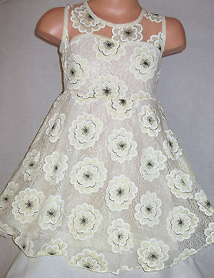 Girls Yellow Lace Mesh Flower Blossom Print Princess Pageant Prom Party Dress