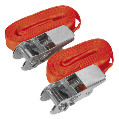 Td05045E Sealey Self-Securing Ratchet Tie Down 25Mm X 4.5Mtr 500Kg Load Pair