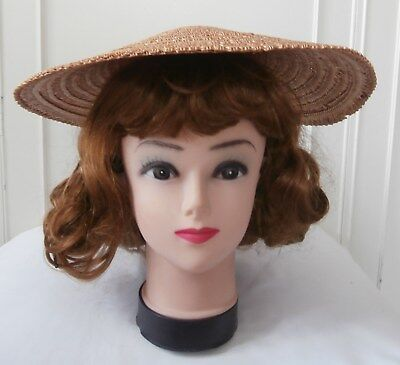 Vintage Late 1940's/ Early 1950's Woven Straw Coolie Style Sun Hat Bonnet  VGC