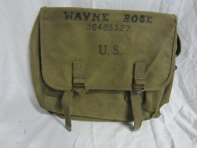 Original WWII B.B.S. Co. 1943 US M36 Musette Bag Airborne Pack  NAMED ID'd