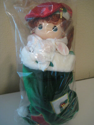 "Precious Moments 1999 HOLLY 16"" Christmas Doll in Stocking, NEW & SEALED"
