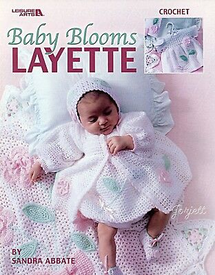 Baby Blooms Layette ~ Afghan Booties Bonnet Dress & More crochet patterns