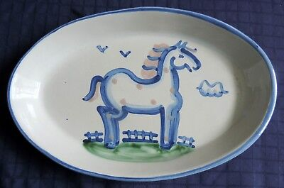 "M A HADLEY POTTERY ""COUNTRY SCENE BLUE"" 14' x 9"" OVAL SERVING PLATTER HORSE"