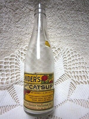 Antique Snyder's Tomato Catsup Bottle from the 1920's with label, no lid