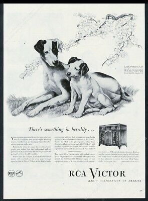 1945 Nipper and puppy RCA Victor Victrola radio set vintage print ad