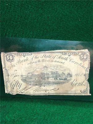 CIVIL WAR 1863 Currency Note SOUTH CAROLINA 50 cents bearer note