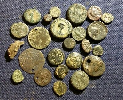 Lot Of 24 Nice Genuine Ancient Coins Mix Greek Provincial Roman Holyland & More