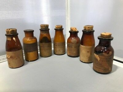 Lot 7 Antique APOTHECARY Medicine Amber Bottles Lilly Wyeth Milliken Early 1900s