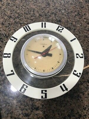 Vintage TELECHRON Round Wall Clock Flying Saucer