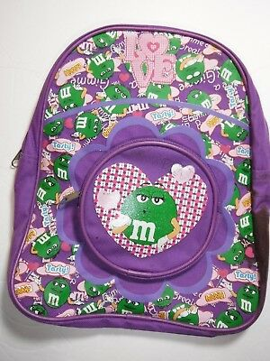 Child's Purple Two Pocket Backpack with Graphics Featuring Green M&M