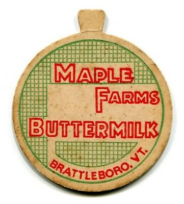 Maple Farms Dairy Brattleboro VT Milk Bottle Cap Windham County Vermont V T