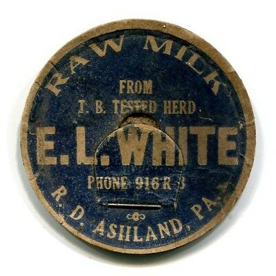 E L White Dairy Ashland PA Milk Bottle Cap Schuylkill County Pennsylvania Penn