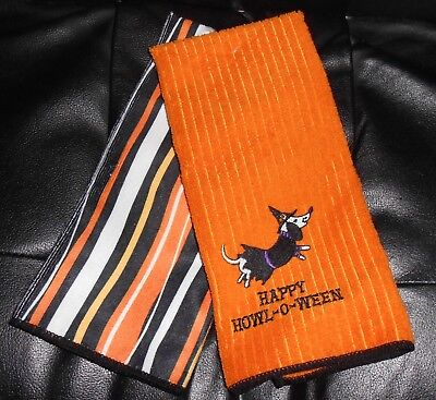 Set of 2 ☆ DACHSHUND WITCH ☆ Halloween Stripes Kitchen Dish Towels  WEINER DOG