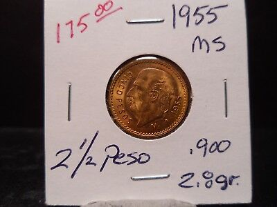 1955 Mexico 2 1/2 Peso Gold Coin Uncertified in Flip - Super Nice