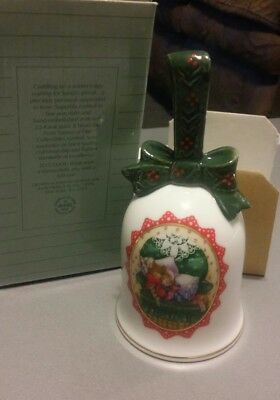 "Vintage Avon 1990 Porcelain Christmas Bell ""Waiting for Santa"" NEW in Orig Box"