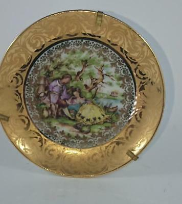 Small Pin Dish - Limoges France  - Monarch   85mm  Gold Courting scene