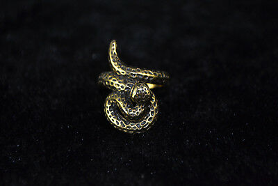 Noble Chinese Collectible Handwork Old Copper Vivid Snake Usable Antique Ring