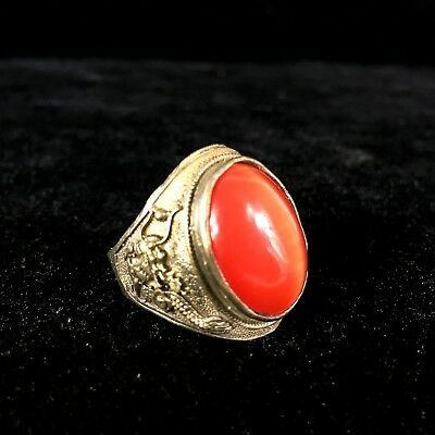 Chinese Old Tibet Silver Inlay Red Cat's Eye Carve Dragon Handwork No.10.5 Ring
