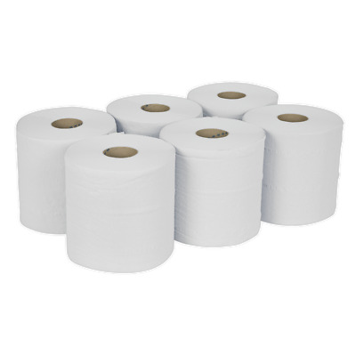 WHT150 Sealey Paper Roll White 2-Ply Embossed 150mtr Pack of 6 [Janitorial]