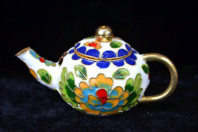 Old Chinese Collectible Handwork Cloisonne Gorgeous Peony Noble Unique Teapot