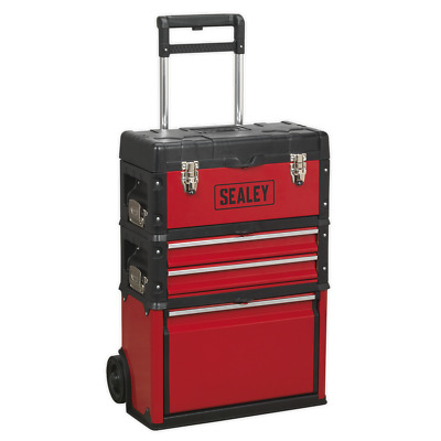 AP548 Sealey Mobile Steel/Composite Toolbox 3 Compartment Tool Storage Toolboxes