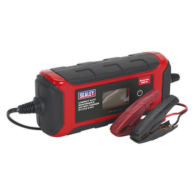 SMC13 Sealey Battery Charger Compact Auto Maintenance 4A - 9-Cycle 6/12V