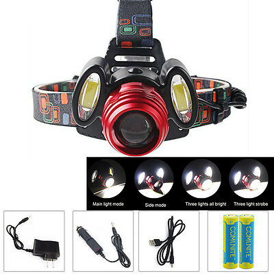 6000LM Zoomable t6 LED Rechargeable Headlamp Head Torch Light + 18650 Battery