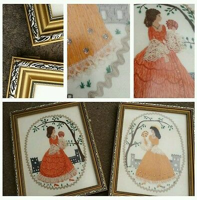 2 pretty vintage style shabby needlework lady pictures in gold frames