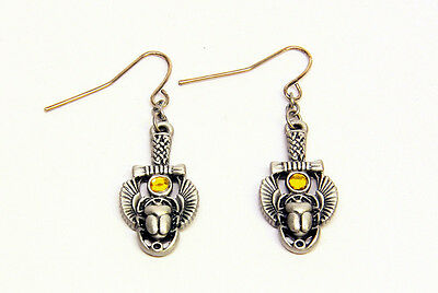 Egyptian Egypt Scarab Amulet Earrings. Set of 2. Ancient Egypt Fashion Jewelry