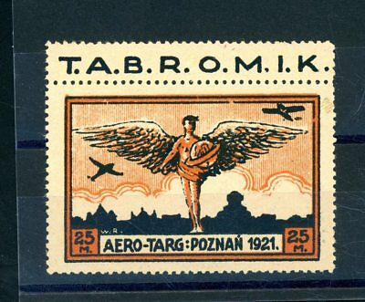Poland 1921  Air Service  25M  Value with Tag,  L.H.M. (Genuine)   (S907)