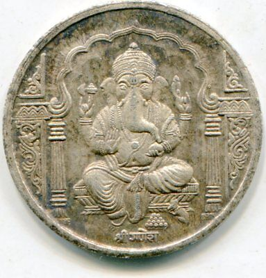 India Silver Temple medallion 30mm   lotsep2694