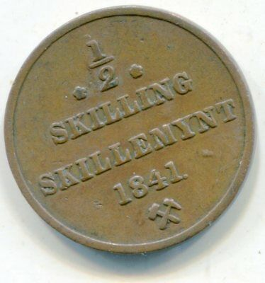 Norway 1/2 Skilling 1841 lotsep2716