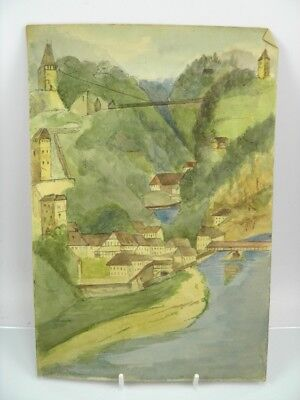 Antique early 20th century English School watercolour painting river landscape