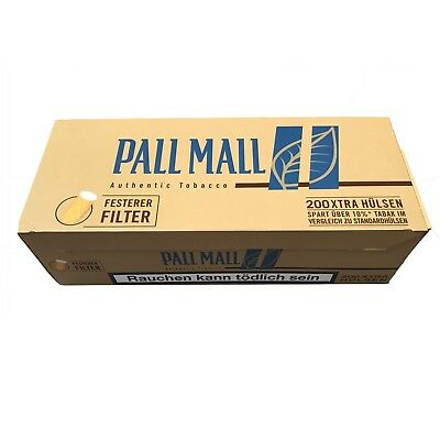 10 Pack Pall Mall Authentic Blue / Blau Xtra Filterhülsen 200 Stück pro Pack