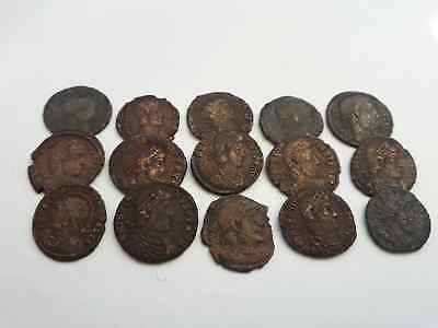 Lot Of 15 Ancient Roman Coins Beautiful Uncleaned
