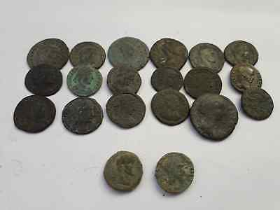 Lot Of 20 Ancient Roman Coins Beautiful Uncleaned