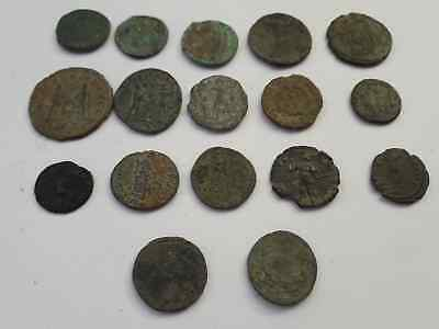 Lot Of 17 Ancient Roman Coins Beautiful Uncleaned