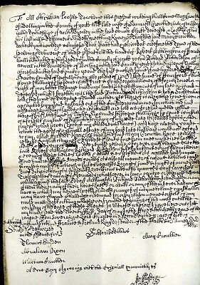 1683  County of York Legal Document in Good Condition   (S922)