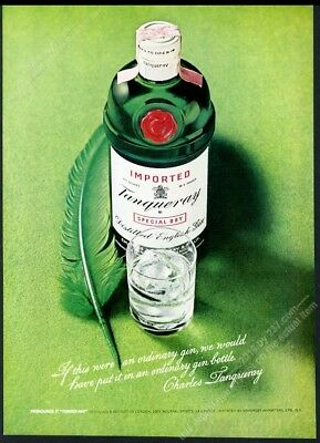 1973 Tanqueray gin classic green bottle and feather photo vintage print ad