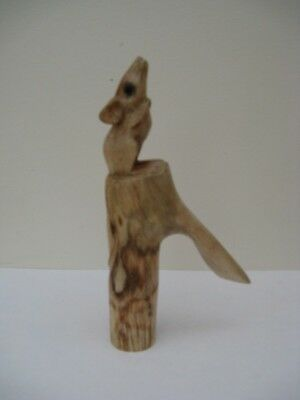 ONE  WOODEN CARVED MOUSE SCRUMPING STICK Handle  for Walking stickmaking