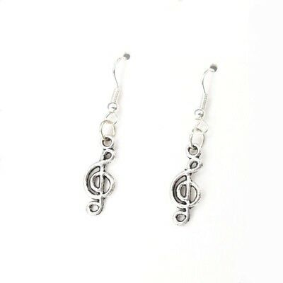 925 Sterling Silver Hooks Vintage Silver Alloy Small Dangle Music Earrings NEW
