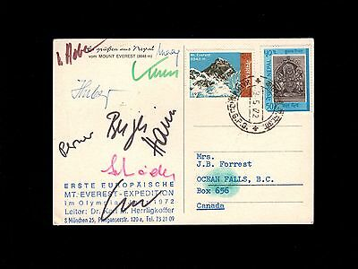 Nepal Katmandu 1972 Mount Everest Auxiliary German Team SIGNATURES - Canada  7p