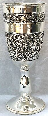.925 Sterling Silver Champagne Wine Flute Oxidised Antique Work Decorative Gift