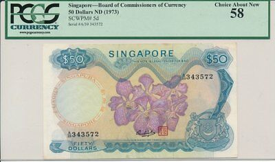 Board of Commissiones of Currency Singapore  $50 ND(1973)  PCGS  58