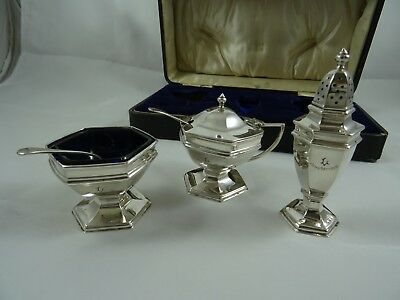 BOXED solid silver CONDIMENT SET, 1938